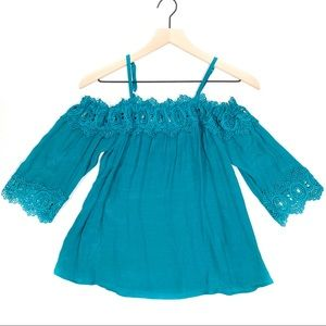 NWOT BCX Teal Lace Smock Top
